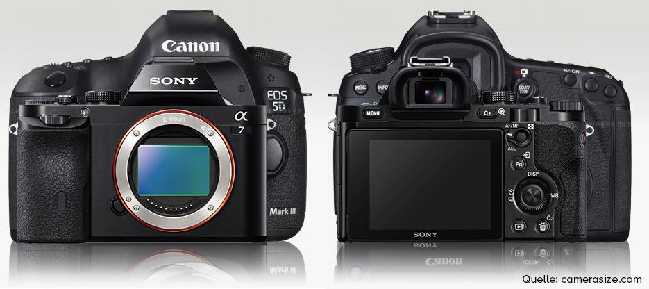 Größe der Sony a7 im Vergleich zur Canon 5D MkIII